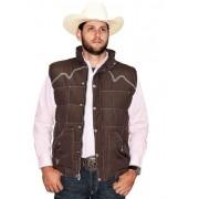 Colete Masculino Cowboy Hardwere Marrom Bordado