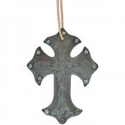 Cruz de Couro Azul com Pedras e Brilhos