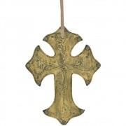 Cruz de Couro Ouro Envelhecido