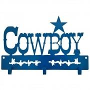 Gancho De Metal Triplo Importado Azul Cowboy