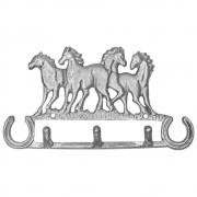 Gancho de Metal Triplo Importado Prateado Quatro Cavalos