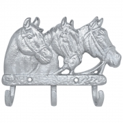 Gancho de Metal Triplo Importado Três Cavalos Prateado
