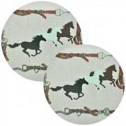 Jogo Americano Cavalos e Bridões Cowboys Redondo 2 Peças