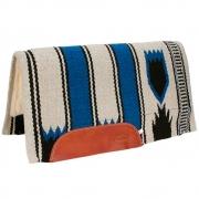 Manta de Lã Mustang Wool Pad Navajo Importada Azul, Preta e Bege