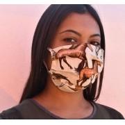 Máscara de Tecido Cowboys Bege com Cavalinhos