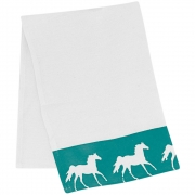 Pano de Prato Branco Estampa Azul Turquesa com Cavalos Brancos