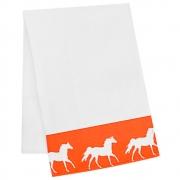 Pano de Prato Branco Estampa Laranja com Cavalos Brancos