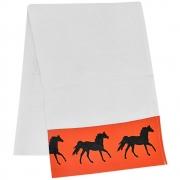 Pano de Prato Branco Estampa Laranja com Cavalos Pretos
