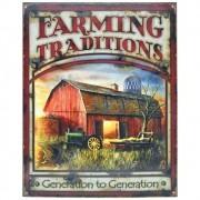 Placa Decorativa Importada de Metal Farming Traditions