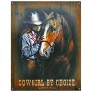 Placa Decorativa Importada de Metal Cowgirl By Choice