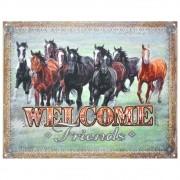 Placa Decorativa Importada de Metal Welcome Friends