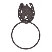 Porta Toalha de Metal Importado Com Argola Cavalo e Ferradura
