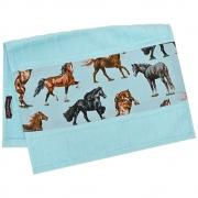 Toalha de Mãos Cowboys Azul Claro com Cavalos Coloridos