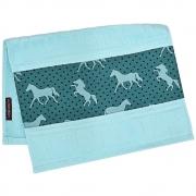 Toalha de Mãos Cowboys Azul Claro com Cavalos e Poá
