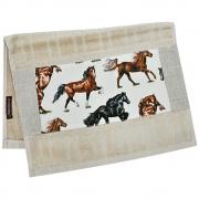 Toalha de Mãos Cowboys Bege com Cavalos Coloridos