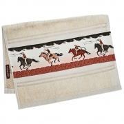 Toalha de Mãos Cowboys Bege com Cavalos e Laçadores