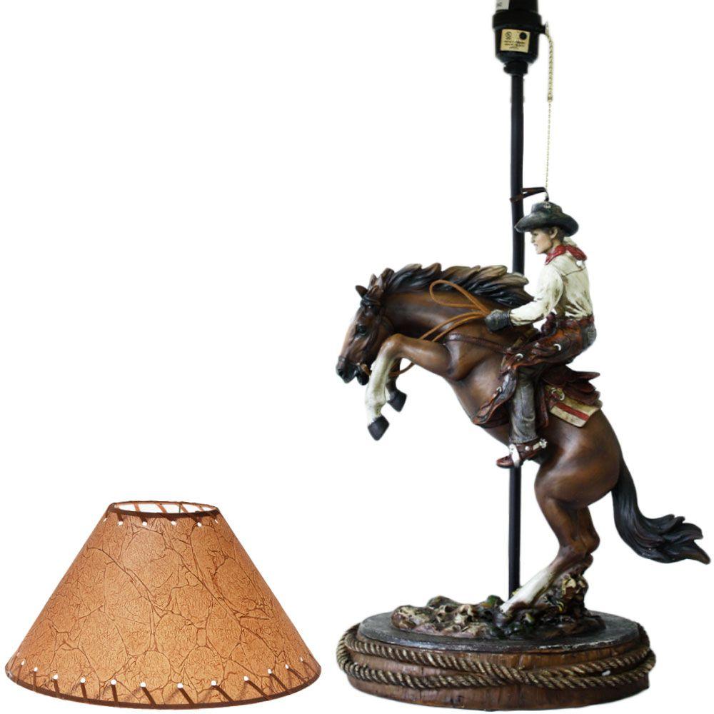 Abajur de Mesa Country Importado Cowboy Mad Horse Riding