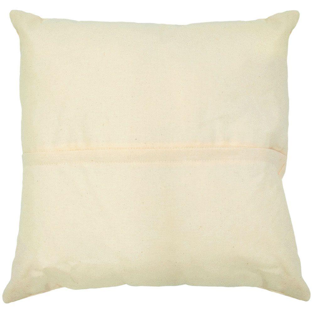 Almofada Branca com Botão e Penas de Couro
