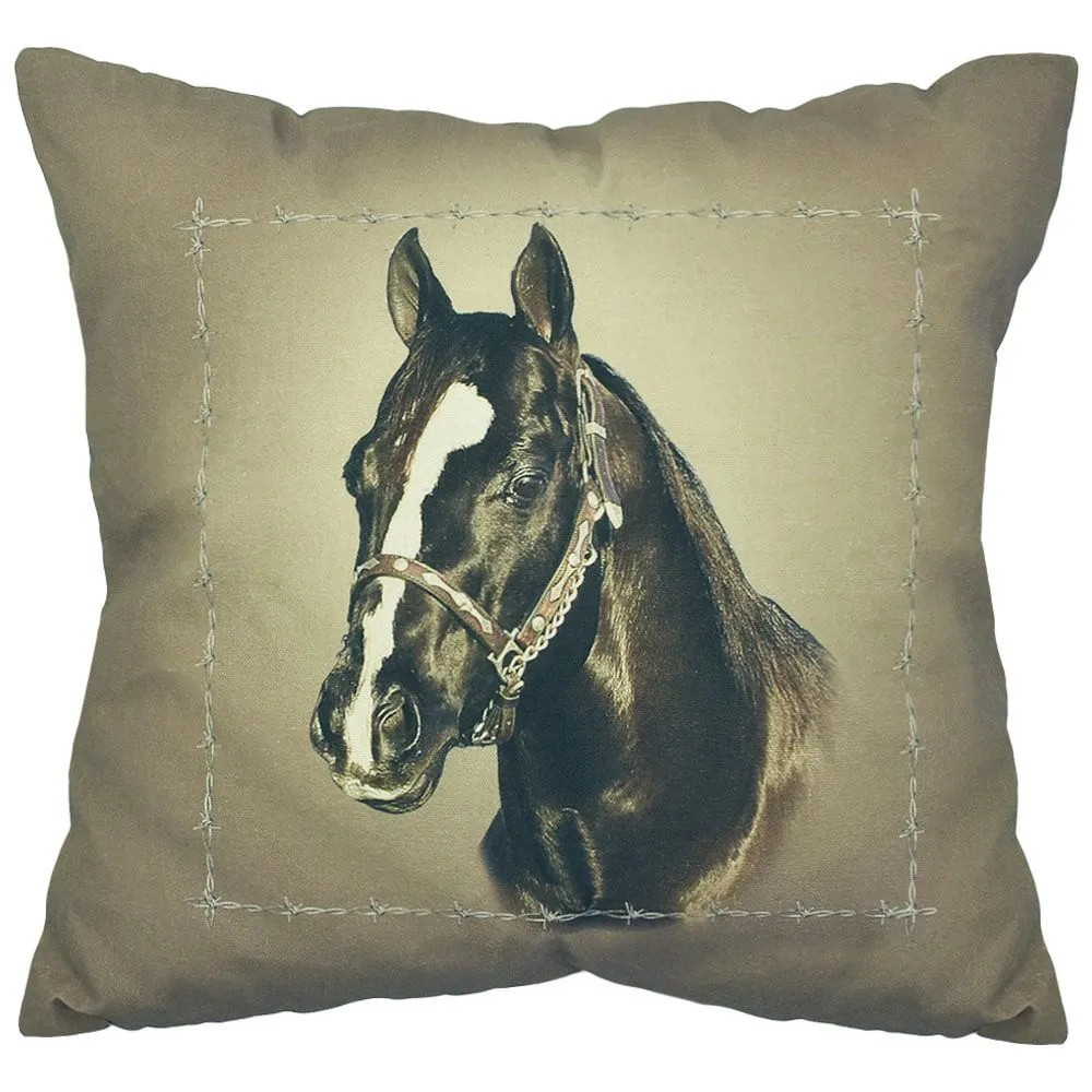 Almofada Cabeça de Cavalo Grande Preto