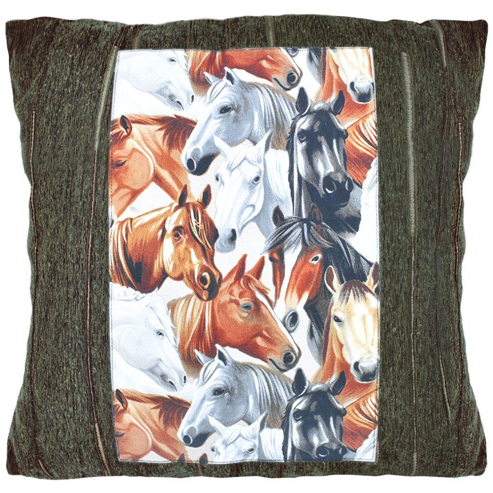 Almofada Cinza com Estampa Vertical de Cavalos