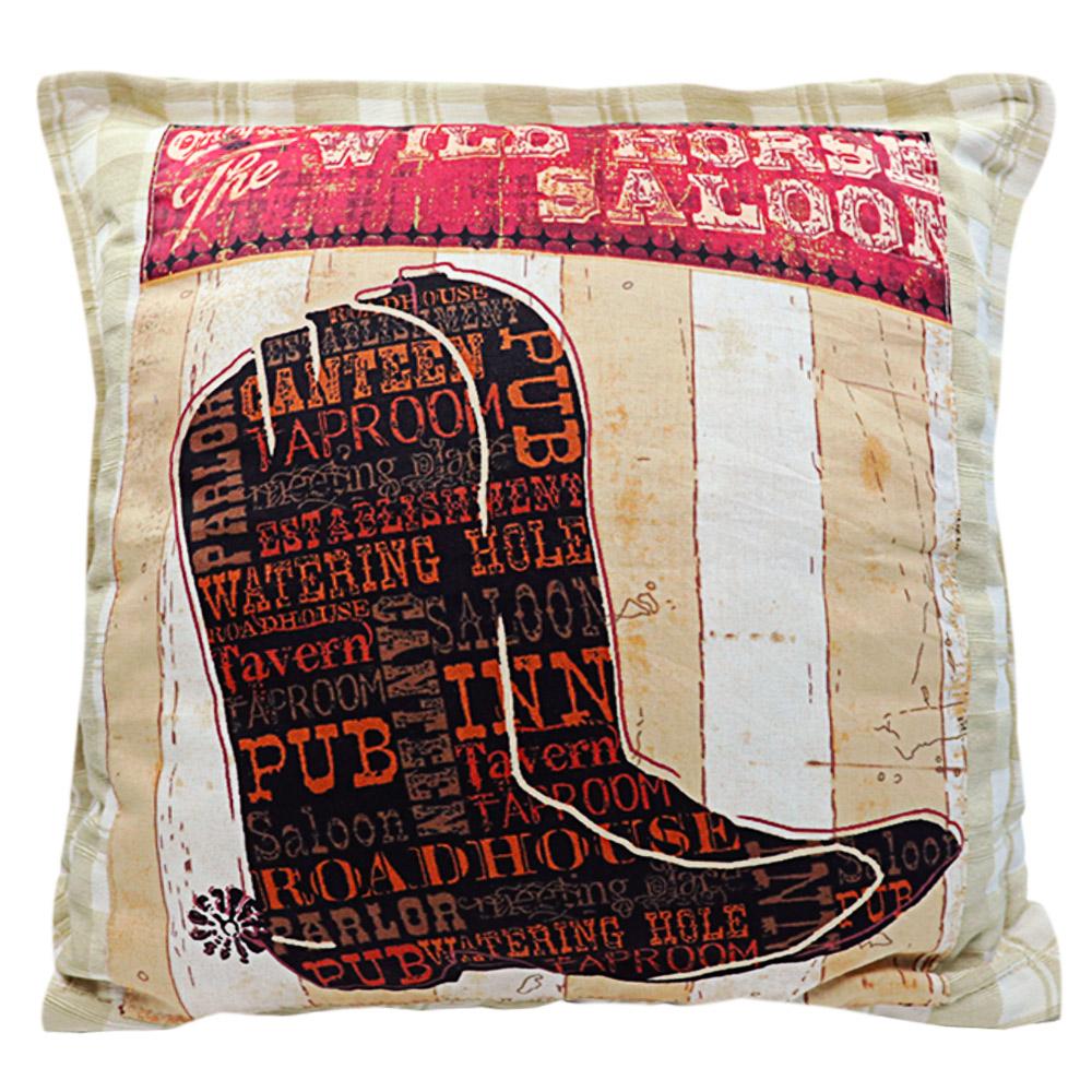 Almofada Country Cowboys Bege Chapéu Kit 3 Unidades