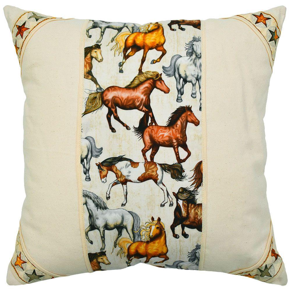 Almofada Cowboys Bege Cavalos e Estrelas