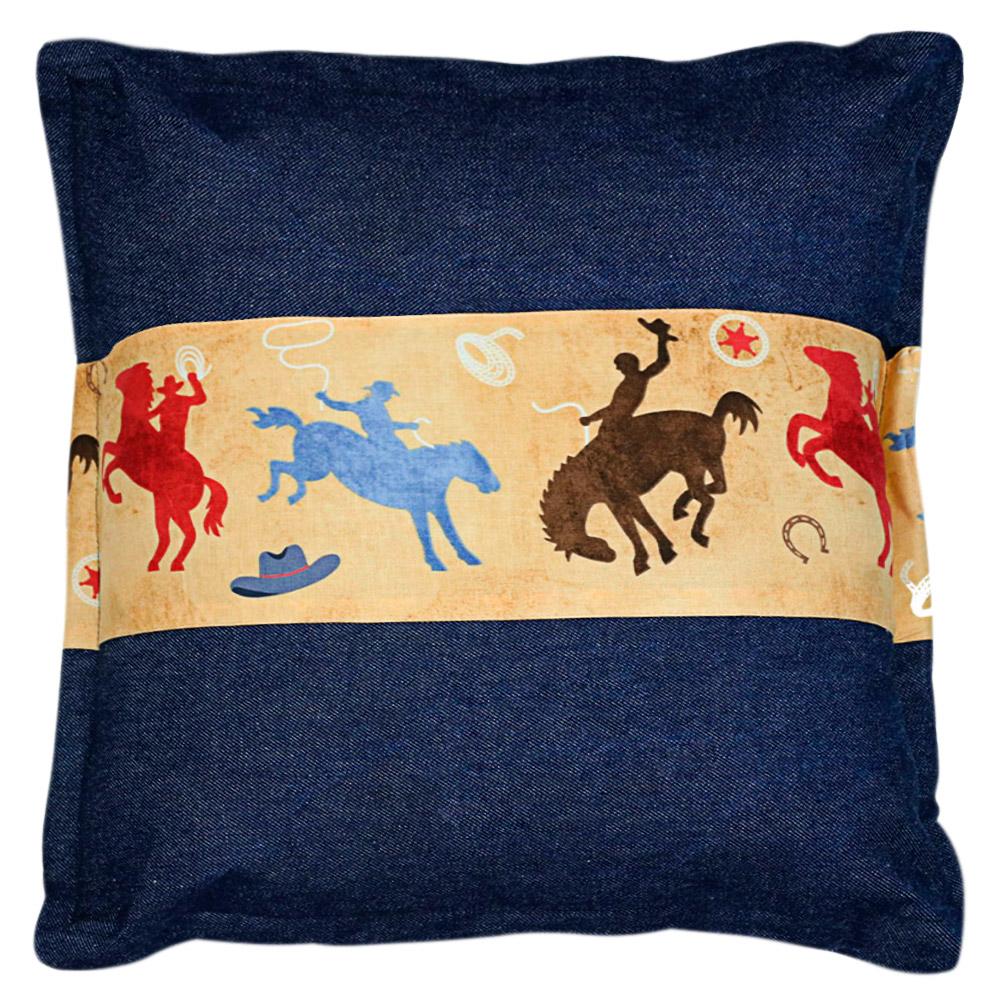 Almofada Cowboys Jeans Cavalos Azul, Vermelho e Marrom Quadrada