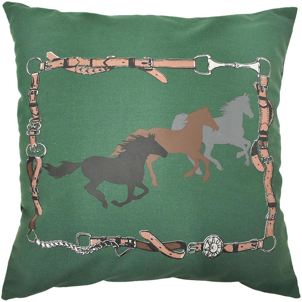 Almofada Cowboys Verde Rédeas e Cavalos