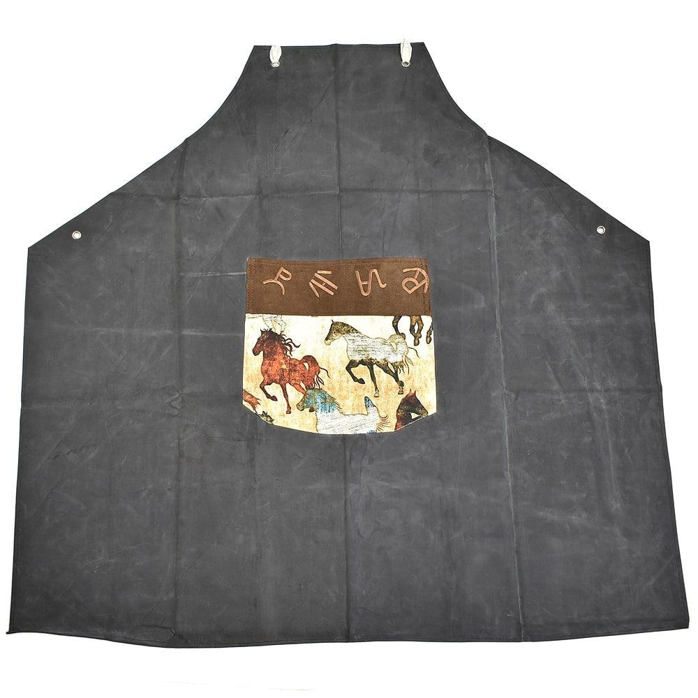 Avental em Lona Cinza com Estampa de Cavalos Selvagens