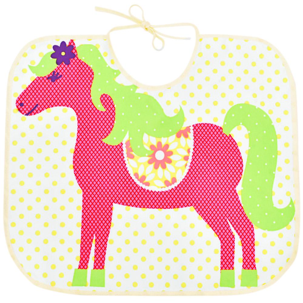 Babador Little Horse Infantil Branco com Cavalinho Pink