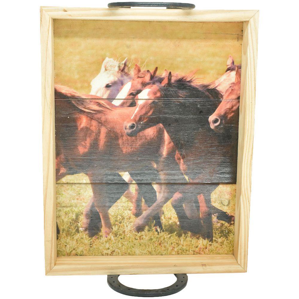 Bandeja de Madeira com Estampa de Cavalos Correndo