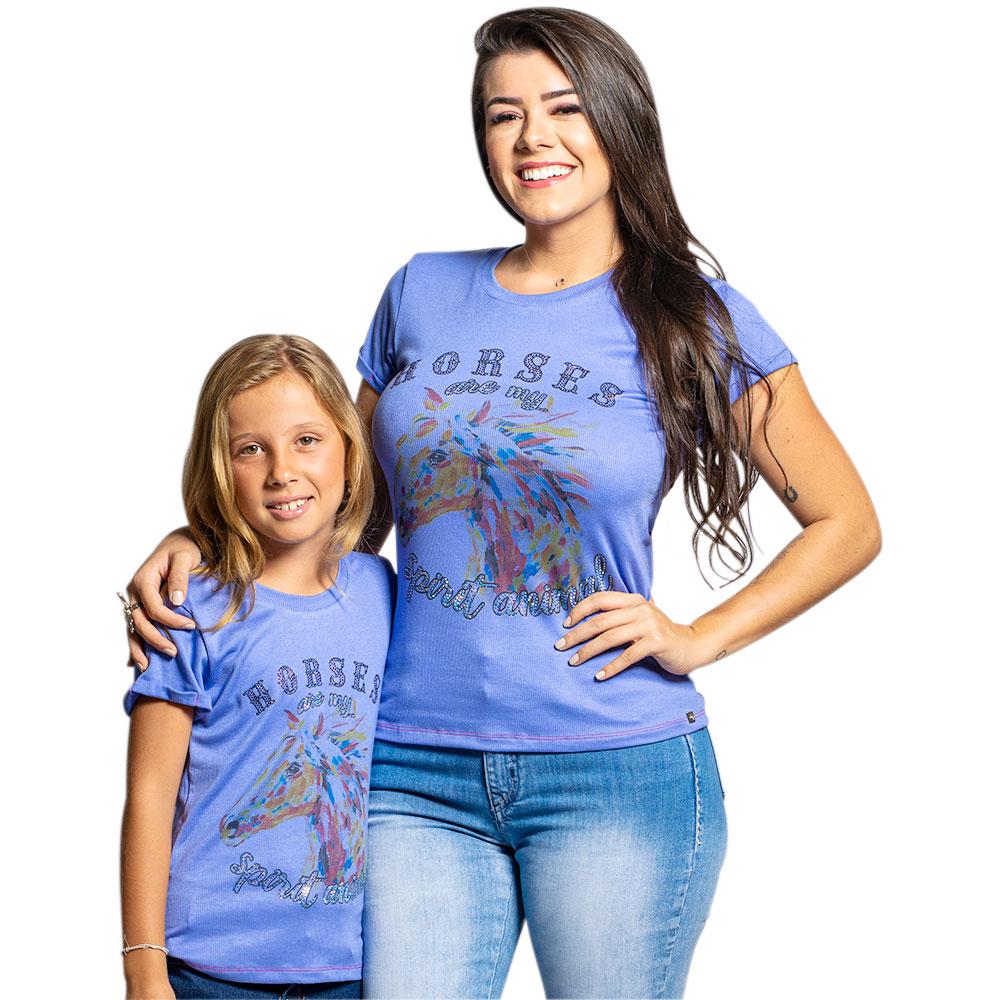 Blusinha Feminina Mãe e Filha Miss Country Lilás com Strass