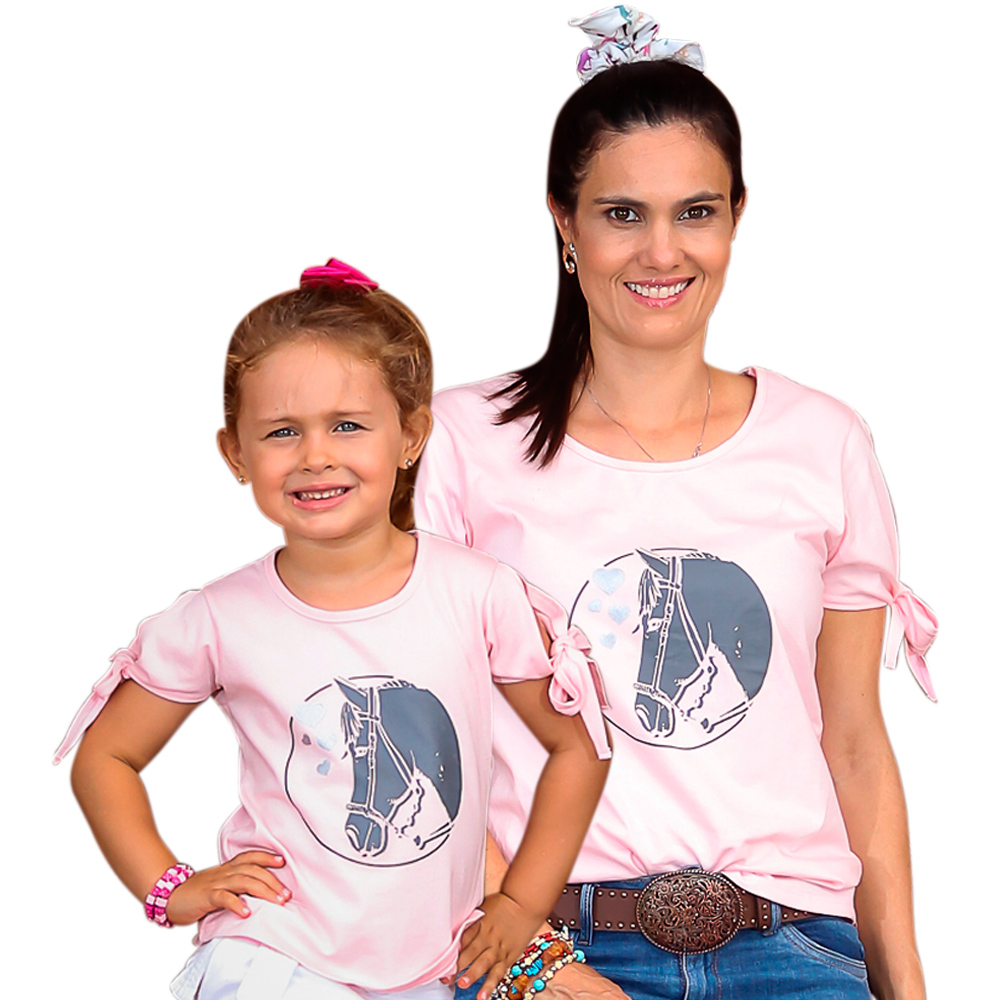 Blusinha Feminina Mãe e Filha Rosa Cowboys Cavalo e Corações Chumbo