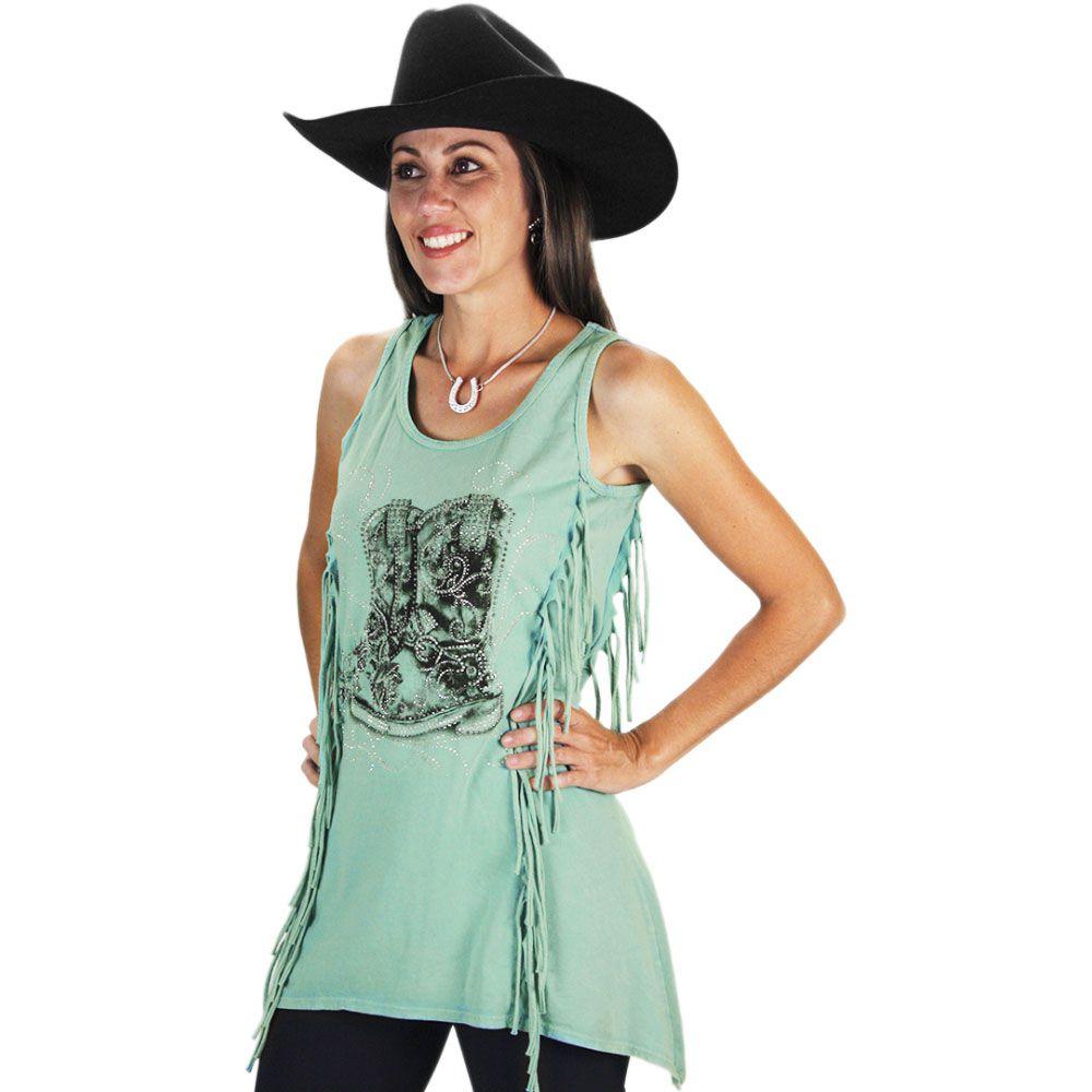 e445a8e202 Blusinha Feminina Regata com Franja Fashion Boot - Cowboys ...
