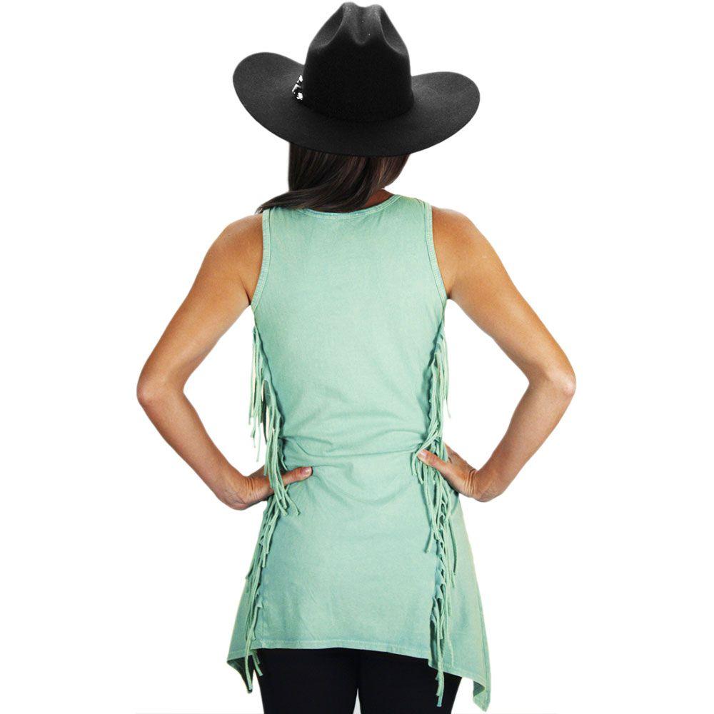 4fec64c44e ... Blusinha Feminina Regata com Franja Fashion Boot - Cowboys ...
