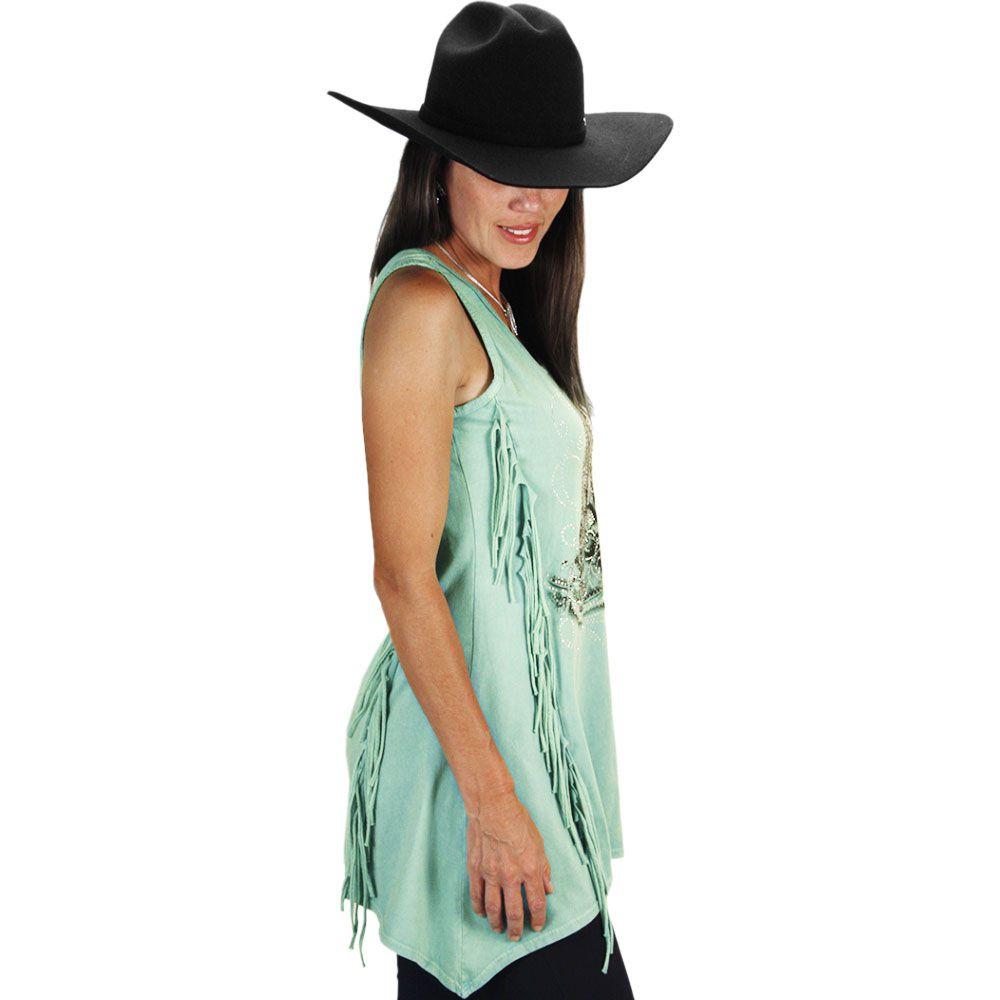 8ac0886a5d ... Blusinha Feminina Regata com Franja Fashion Boot - Cowboys