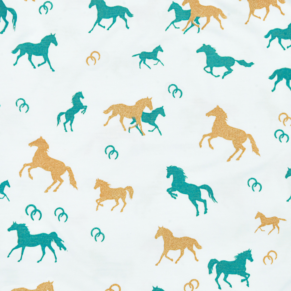 Blusinha Infantil Cowboys Branca Horses and Horseshoes