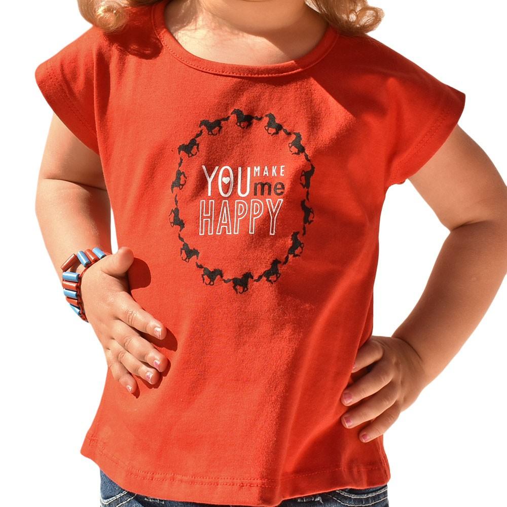 Blusinha Infantil Cowboys Mãe & Filha Vermelha Cavalinhos Pretos