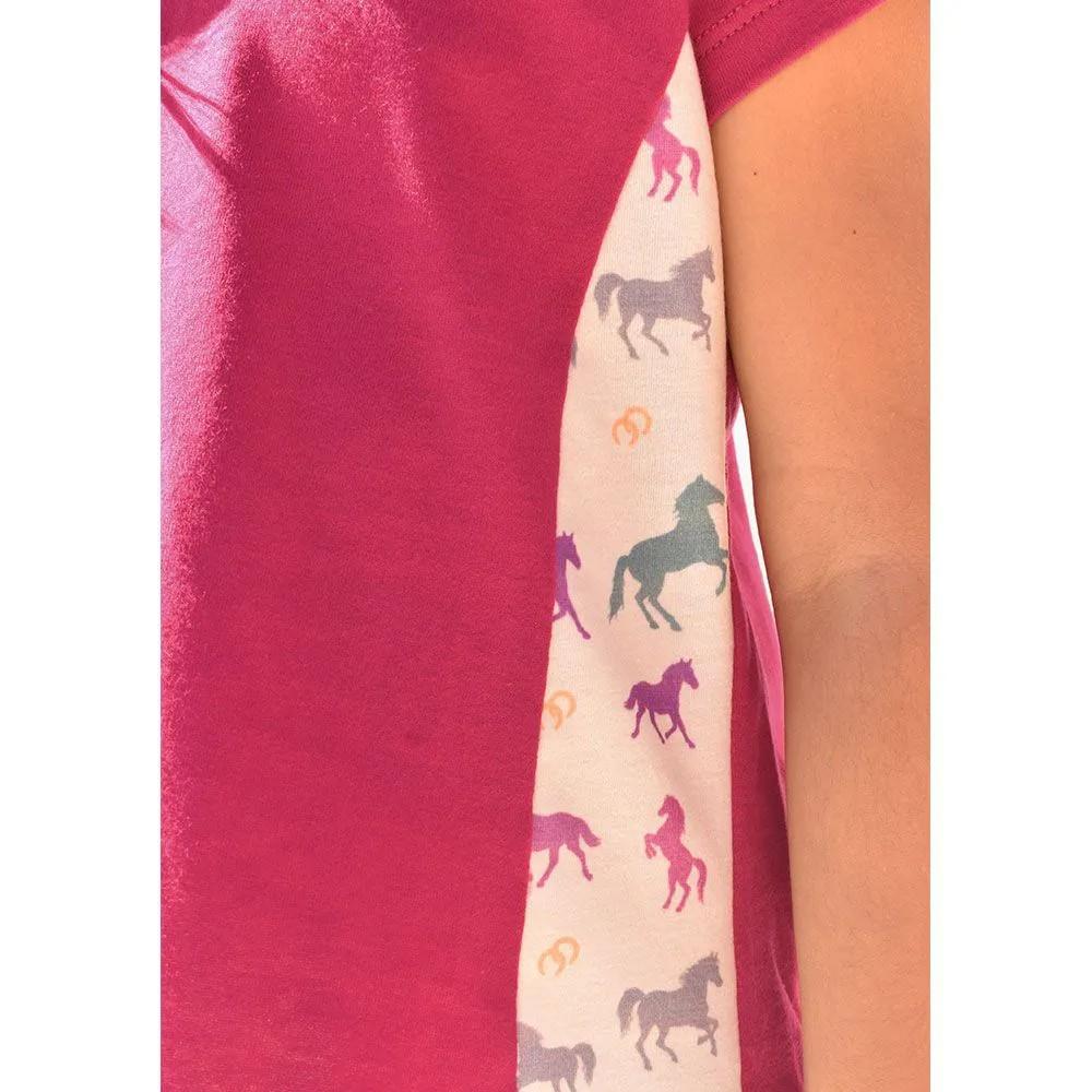 Blusinha Infantil Cowboys Mãe & Filha Pink Cavalinhos Coloridos
