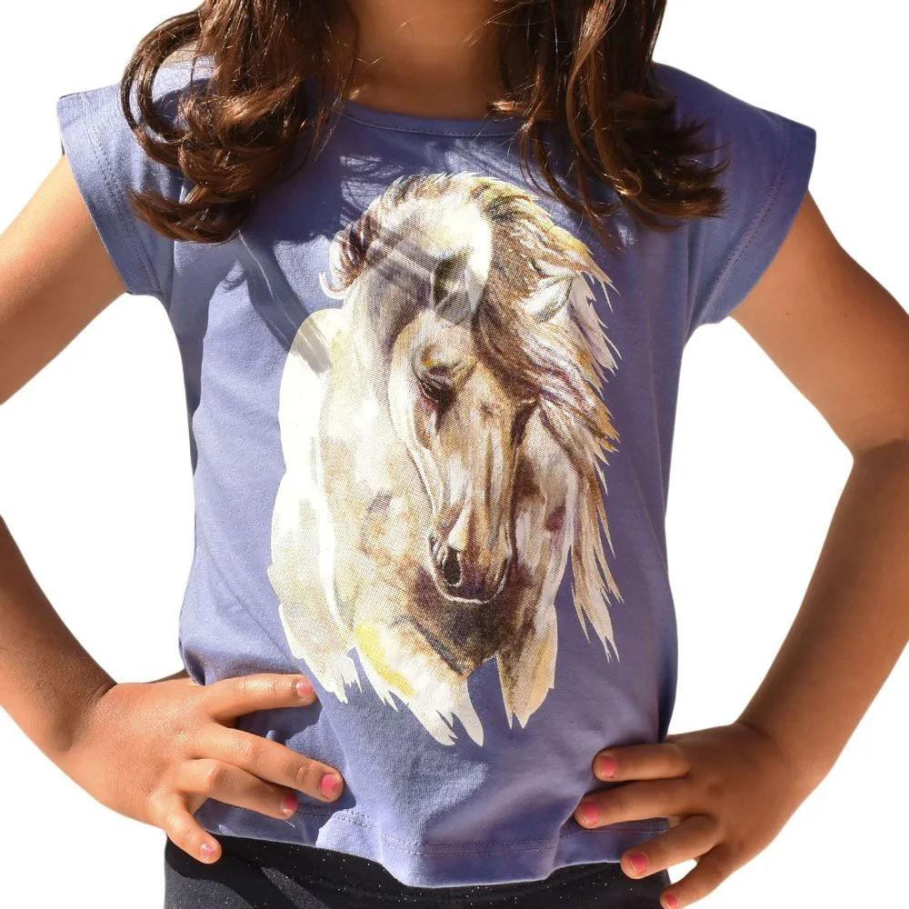 Blusinha Infantil Cowboys Mãe & Filha Roxa Cabeça De Cavalo
