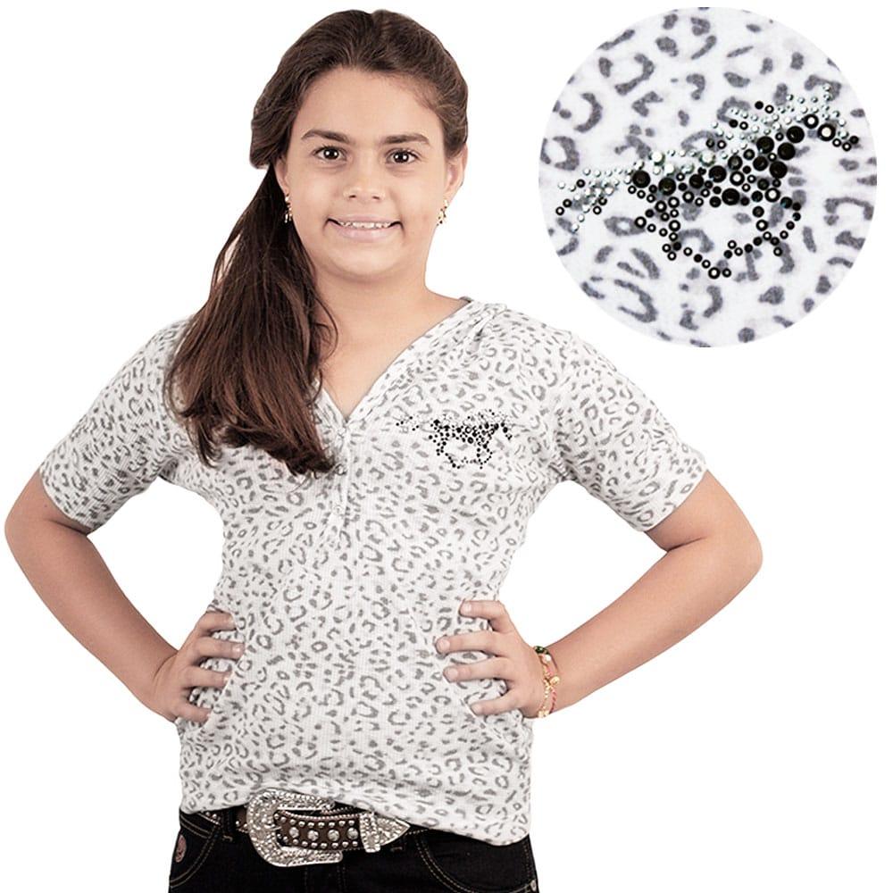 Blusinha Infantil Feminina Oncinha Cinza