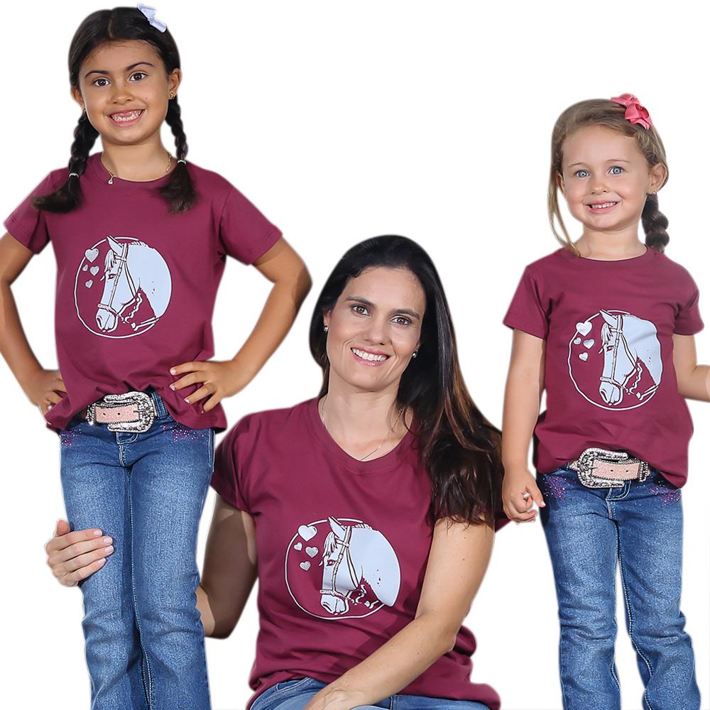 Blusinha Infantil Mãe e Filha Marsala Cowboys Cavalo e Corações Cinza
