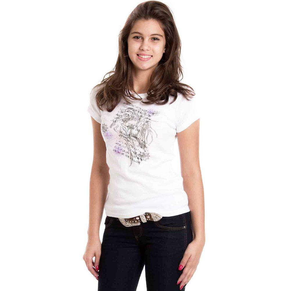 Blusinha Infanto-Juvenil Feminina Branca Cavalos