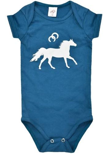 Body Azul Marinho com Estampa de Cavalinho Branco