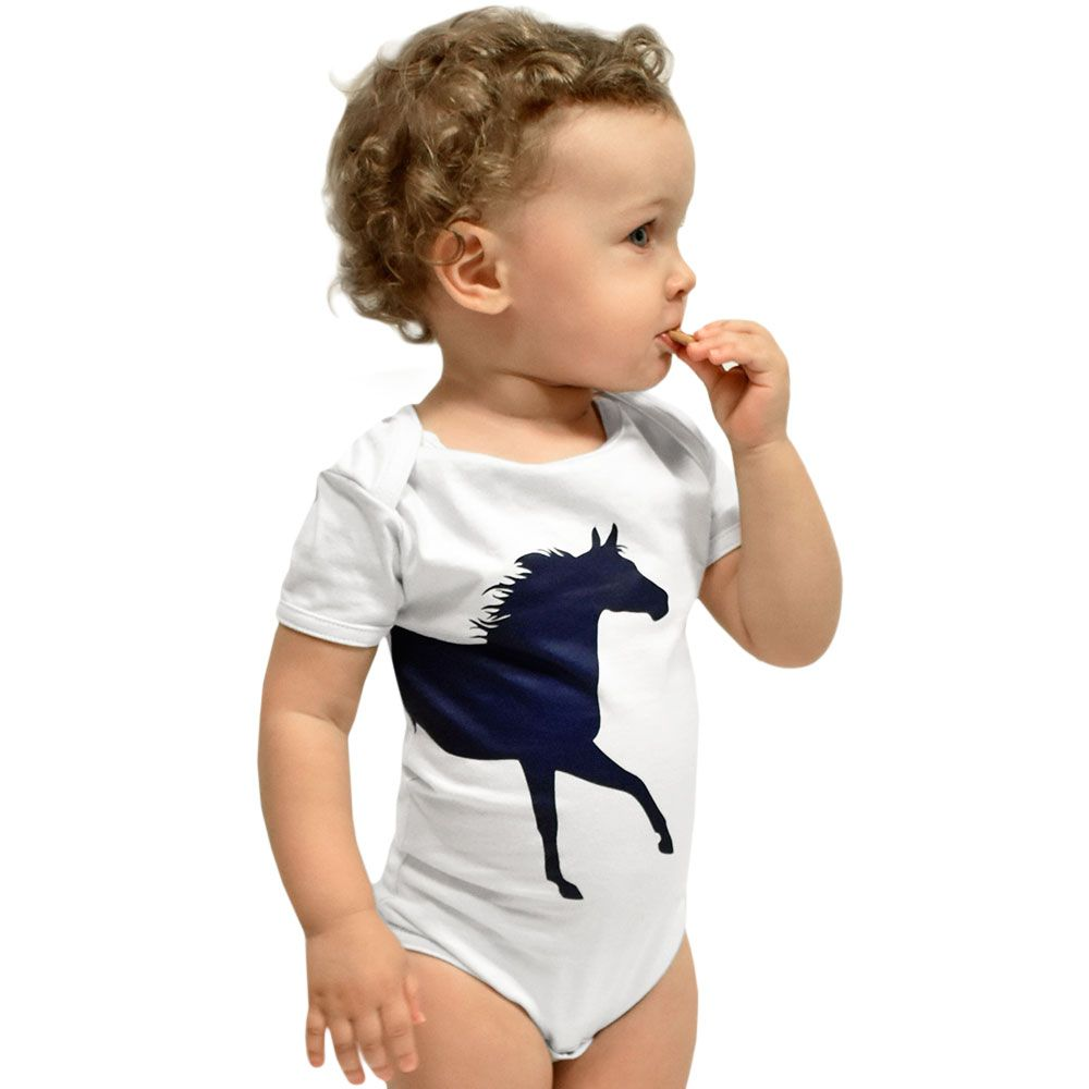 Body Infantil Cowboys Branco Cavalinho Azul Marinho