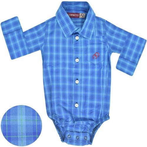 Body Camisa Infantil Cowboys Manga Longa Xadrez Tons de Azul