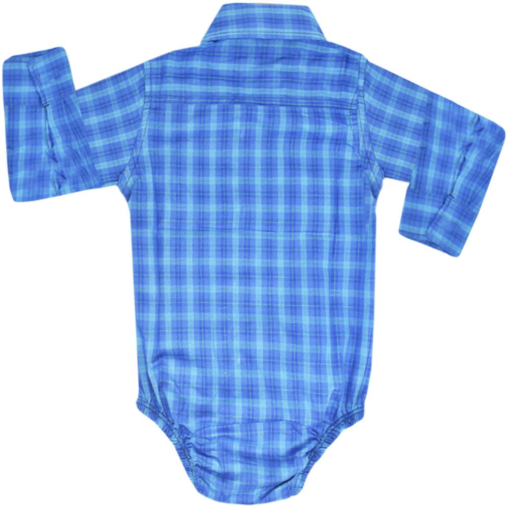 Body Camisa Cowboys Manga Longa Xadrez Tons de Azul