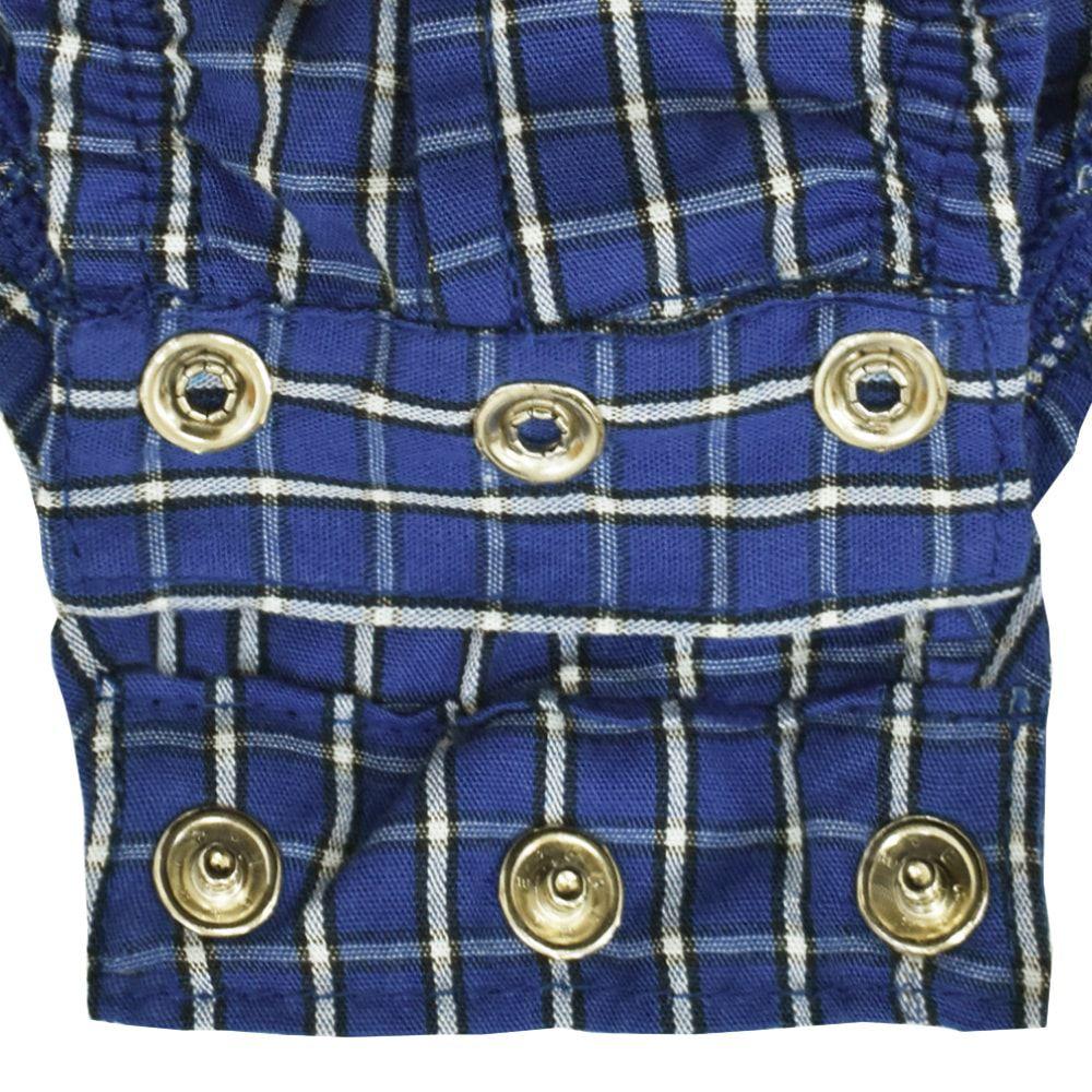 Body Camisa Cowboys Xadrez Azul Escuro e Cinza
