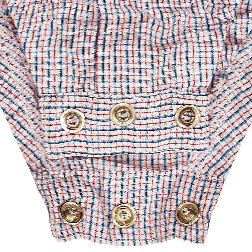 Body Camisa infantil Cowboys Xadrez Branco, Azul e Vermelho