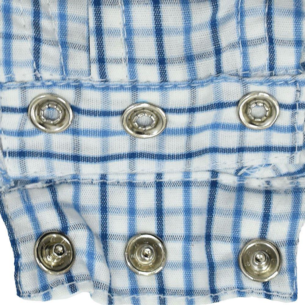 Body Camisa Cowboys Xadrez Branco e Tons de Azul